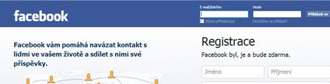 Facebook úvodní stránka