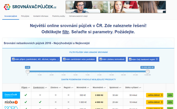 Úvodní strana www.srovnavacpujcek.cz
